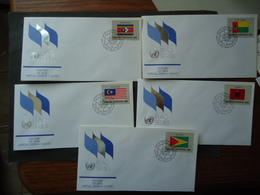UNITED NATIONS DIFFERENT 5 FDC FLAG FLAGS - Buste