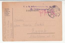 Austria WWI Feldpost Postcard Posted 1918 K.u.K. Infanteriebaon Nr. IV. FP 420 To Zagreb B200110 - Croatia