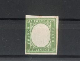 1388 - Antichi Stati - Stati Sardi -  5 C. Verde - Anno 1852 - Sardegna