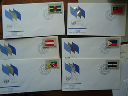 UNITED NATIONS DIFFERENT 6  FDC FLAG FLAGS - Buste