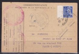 10c Mercure Surchargé FM LE LOUP Sur CP Correspondance Des Armées De La République (FFI) Bataillon Du Loup Clamecy - Marcophilie (Lettres)