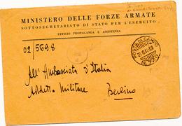 1944 POSTA MILITARE RSI POSTA DA CAMPO 749 DIRETTA A BERLINO UFFICIO PROPAGANDA ED ASSISTENZA - 1900-44 Vittorio Emanuele III
