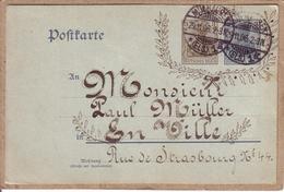 HAUT RHIN - CARTE POSTALE DE MULHOUSE POUR MULHOUSE ,  CARTE ENTIER DEUTSCHES REICH 2 Et 3 PF - 1906 - Marcophilie (Lettres)