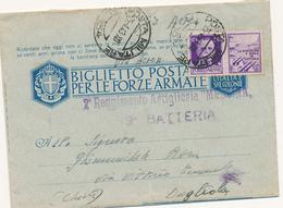 1943 POSTA MILITARE 134 SU 0,50 PROPAGANDA DI GUERRA BIGLIETTO POSTALE SPEDITO VIA AEREA - 1900-44 Vittorio Emanuele III