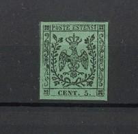 1476 - Antichi Stati - Ducato Di Modena - 5 C. Nero Su Verde - Difetto Clichè - Anno 1852 - Modena