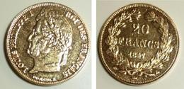 Copie Pièce De Monnaie En Métal Doré, 20 Francs 1847, Louis Philippe I 1er Roi Des Français, France, Domard - Monnaies & Billets
