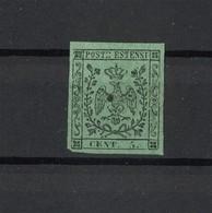 1408 - Antichi Stati - Ducato Di Modena - 5 C. Nero Su Verde  - Anno 1852 - Modena