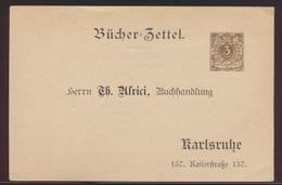 D. Reich Mode Privatganzsache PP8 B13023 Bücherzettel Reklame Alrici Karlsruhe - Ganzsachen