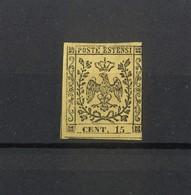 1488 - Antichi Stati - Aquila Estense Ducato Di Modena - 15 C. Nero Su Giallo  - Carta Colorata - Anno 1852 - Modena