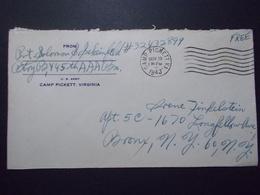 Marcophilie  - USA - Militaire - Camp PICKETT Virginie 1943 (2622) - Etats-Unis