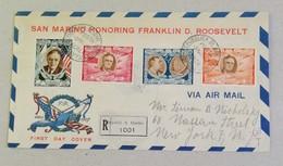 FDC Franklin D. Roosevelt Raccomandata Per Via Aerea Per New York - 03/05/1947 - FDC