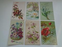 Beau Lot De 60 Cartes Postales De Fantaisie  Fleurs Fleur   Mooi Lot Van 60 Postkaarten  Bloemen Bloem - Cartes Postales