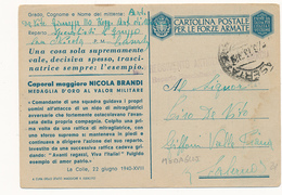 1943 FRANCHIGIA MILITARE CAPORAL MAGGIORE BRANDI - 1900-44 Vittorio Emanuele III
