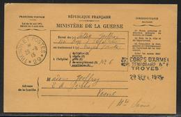 14/18 : Bulletin De Santé D'un Militaire En Traitement Obl. Trésor Et Postes 29 En 1915 Hôpital Temporaire N°6 / Troyes - Marcophilie (Lettres)