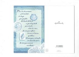 Double Grande Cpm - Anniversaire - Dessin Escargot Coquille St Jacques Coquillage Corail - Hallmark - Anniversaire