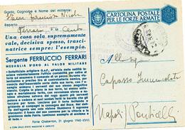 1943 POSTA MILITARE SU FRANCHIGIA SERGENTE FERRUCCIO FERRARI - 1900-44 Victor Emmanuel III