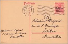 Zensur Belgien Postkarte P 11I Als Orts-Postkarte BRÜSSEL 5.10.17 Und Nummer 67 - Bezetting 1914-18