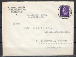 Niederlande Brief Simpelveld Nach Luckenwalde 27.5.1947 - 1891-1948 (Wilhelmine)