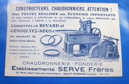 1904 --UN DES + ANCIEN BUVARD PUBLICITAIRE CHAUDRONNERIE- FONDERIE- Etablissements  SERVET Frères SAINT ETIENNE LOIRE - Blotters