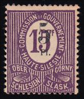 Oberschlesien 10 F Fehlaufdruck 5 Auf 15 Pf., Mit Falz *, Signiert Dr. Müller - Deutschland