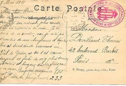 75-cachet Hôpital Aux. N°195 Soeurs De La Croix à Paris Sur CP En 1915 - Guerre De 1914-18