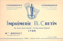 """CPA / CARTE DE VISITE FRANCE 69 """"Lyon, Imprimerie B. CRETIN"""" - Lyon"""