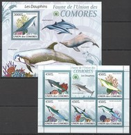 UC011 2009 UNION DES COMORES FAUNA MARINE LIFE LES DAUPHINS DOLPHINS 1KB+1BL MNH - Dolphins
