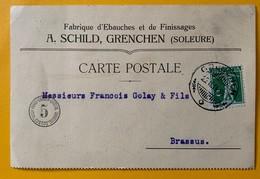 9884 - Horlogerie Carte Fabrique D'Ebauches A.Schild Grenchen 25.02.1914 - Lettres & Documents