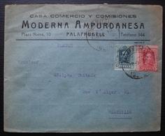 Espagne 1928 Palafrugell Moderna Ampurdanesa Enveloppe Avec Pub à L'arrière, Voir Photos ! - Covers & Documents