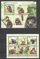 UC018 2009 UNION DES COMORES FAUNA ANIMALS LES LEMURS MANGOUSTES 1KB+1BL MNH - Singes