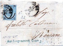 CG4 - Italia - Lettera Da Como Del 15/12/1865 Per Novara - Franc. Da 20 Cent. Su 15 Cent. I° Tipo - Other