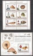 UC057 2009 UNION DES COMORES LES COQUILLAGES SEASHELLS 1BL+1KB MNH - Vie Marine