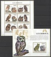 UC060 2009 UNION DES COMORES FAUNA BIRDS OWLS LES HIBOUX 1KB+1BL MNH - Hiboux & Chouettes