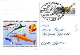"BRD Amtl. GZS-Sonderpostkarte PSo 73 ""Int. BM-Börse Sindelfingen"" WSt ""Grube Messel"", SSt. 27.10.2000 SINDELFINGEN 1 - [7] Federal Republic"