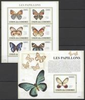 UC067 2009 UNION DES COMORES FAUNA BUTTERFLIES LES PAPILLONS 1KB+1BL MNH - Papillons