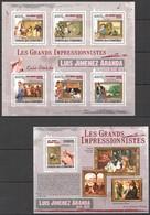 UC303 2009 UNION DES COMORES ART PAINTINGS LUIS JIMENEZ ARANDA 1KB+1BL MNH - Impressionisme