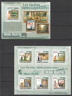 UC304 2009 UNION DES COMORES ART HENRI MARTIN 1KB+1BL MNH - Impressionisme