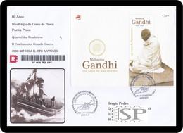 Portugal 2019 150 Mahatma Gandhi Vila Real Santo António Special Postmark Cachet Temporarie Pompiers Fierman Bombeiros - Mahatma Gandhi