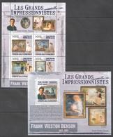 UC309 2009 UNION DES COMORES ART FRANK WESTON BENSON 1KB+1BL MNH - Impressionisme
