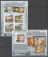 UC310 2009 UNION DES COMORES ART COLIN CAMPBELL COOPER 1KB+1BL MNH - Impressionisme