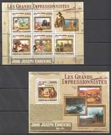 UC319 2009 UNION DES COMORES ART JOHN JOSEPH ENNEKING 1KB+1BL MNH - Impressionisme
