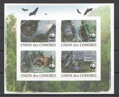 UC369 !!! IMPERFORATE 2009 UNION DES COMORES FAUNA WWF WILD ANIMALS BATS 1KB MNH - W.W.F.