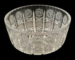 Ólomkristály Csiszolt Tál, Apró Karcolásokkal, Jelzés Nélküli D:17,8 Cm M:7,8cm - Verre & Cristal