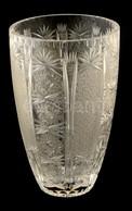 Csiszolt ólomkristály Váza, Jelzett (lekopott), Címkés Ragasztással, Karcolásokkal M:25,5 Cm - Verre & Cristal