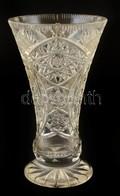Csiszolt ólomkristály Váza, Jelzés Nélküli, Karcolásokkal  M:20,8 Cm - Verre & Cristal
