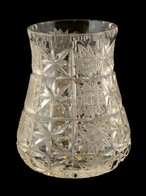 Csiszolt ólomkristály Kisváza, Jelzés Nélküli, Apró Karcolásokkal  M:12 Cm - Verre & Cristal
