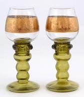 2 Db Talpas üveg Pohár, Aranyozott Mintával, Kis Kopásnyomokkal, M: 18 Cm - Verre & Cristal