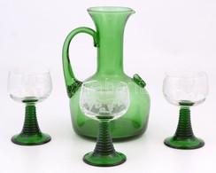 Fújt Zöld üveg Kancsó, 3 Db Szőlőmintás üvegpohárral, Kis Kopásnyomokkal, M: 11,5 és 20 Cm - Verre & Cristal