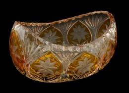 Ólomkristály  Csiszolt Kínáló, Két Rétegű, Jelzés Nélkül. Apró Karcolásokkal, M:11 Cm, H:20 Cm - Verre & Cristal