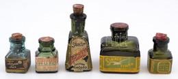 5 Db Régi üres Tintásüveg (Sárkány, Sirály, Sólyom, Müller), Csorba Nélkül, M: 3-8 Cm - Verre & Cristal